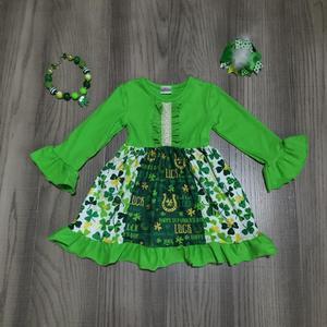 Image 1 - St. Patricks Day girls baby children clothes cotton green ruffles Shamrocks cap dress boutique knee length match accessories