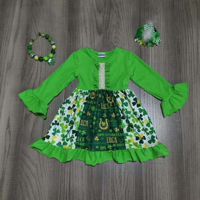 St. Patricks Day girls baby children clothes cotton green ruffles Shamrocks cap dress boutique knee length match accessories