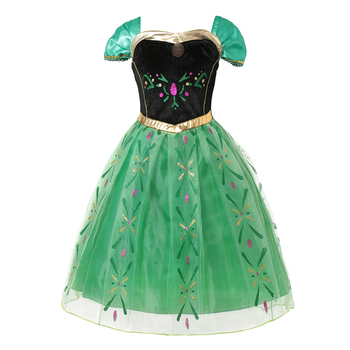 Summer Princess Ana Dresses for Girl Party Birthday Cosplay Costume Children Sleeveless Green Gown Carnival Halloween Dress up carnival red bug halloween cosplay costume princess flower girl dress summer tutu wedding birthday party red bug kids dresses