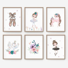Cartoon Poster Wall Art Canvas Painting Ballerina Paintings On The Wall Modular Pictures Nursery Kids Girls Room Decoration(China)