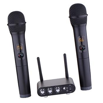 Wireless UHF Microphone Mic Set Display Screen for Indoor Karaoke Party