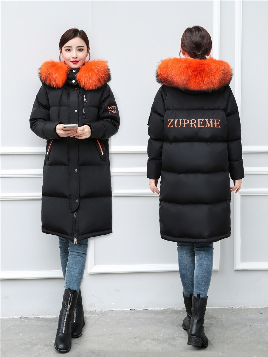 Winter Coat Female White Duck Down Jacket Natural Raccoon Fur Hooded Clothes 2019 Long Brand Women Down Jacket Hiver 9007