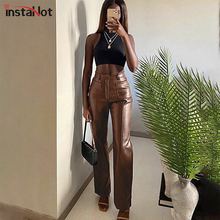 InstaHot Women Faux Leather Straight Pant Trousers Autum Pockets High Waist 2020 Streetwear Office Lady Casual Solid Slim Capris
