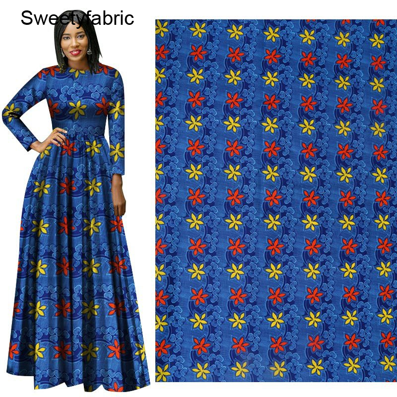 Holland African Wax Fabric 100% Polyester High Quality Flower Blue Prints Nederlands title=