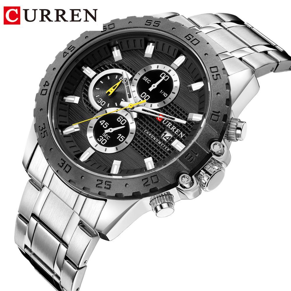 CURREN Silver Business Mens Quartz Wristwatch Waterproof Stainless Steel Brand  Calendar Large Dial Clock for Men