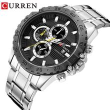 CURREN Silver Business Mens Quartz Wristwatch Waterproof Stainless Steel Brand  Calendar Large Dial Clock for Men