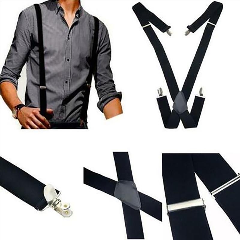 Plus Size 35mm Wide Men Suspenders High Elastic Adjustable 4 Strong Clips Suspender Heavy Duty X Back Trousers Braces
