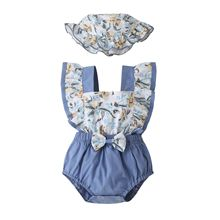 Newborn Baby Girl Clothes Ruffle Backless Floral Print Bodysuits + Hats Sleeveless Toddler Outfits Bow Baby Girl Summer Clothes