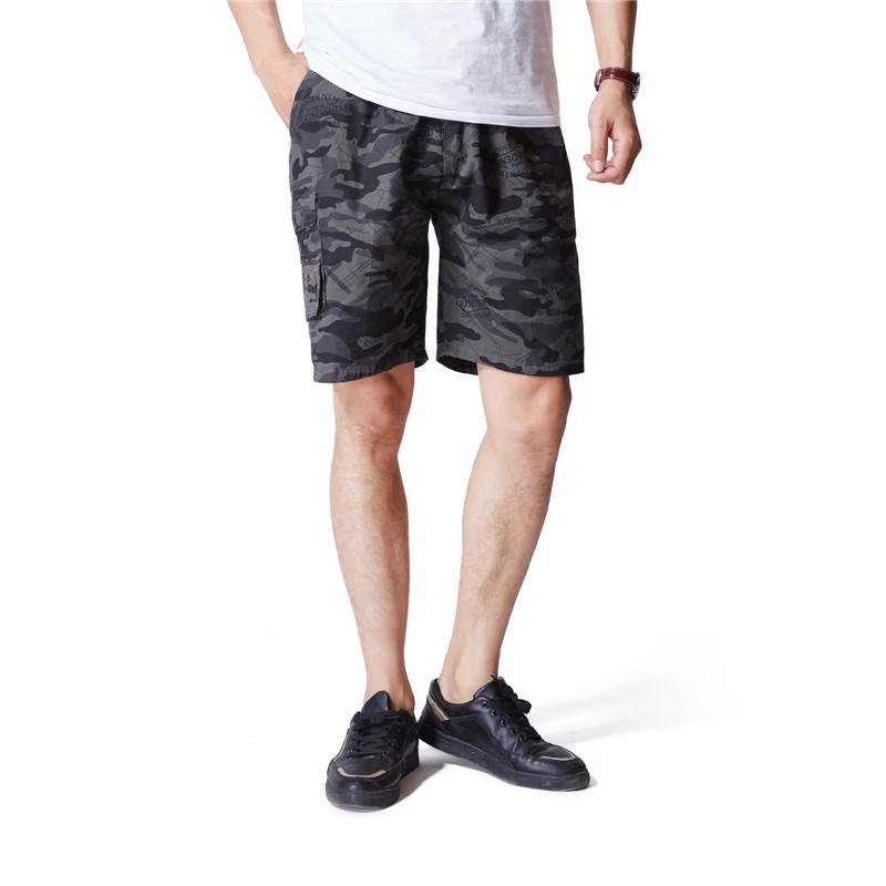 Casual Pants Shorts Men's Summer MEN'S Fifth Pants Pure Cotton Shorts Straight-Cut Casual Pants Beach Camouflaged Male