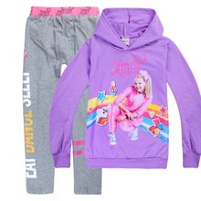 2019 Jojo Siwa Spring Autumn New Fashion Children Casual Suit Hooded Long Sleeve Sportswear Girls Princess Thanksgiving Outfits(China)