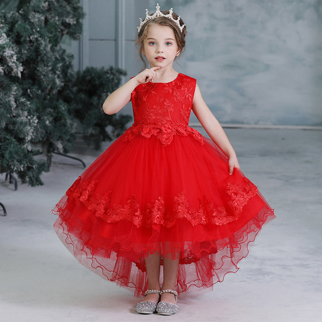 Year Red Lace Flower Dress...