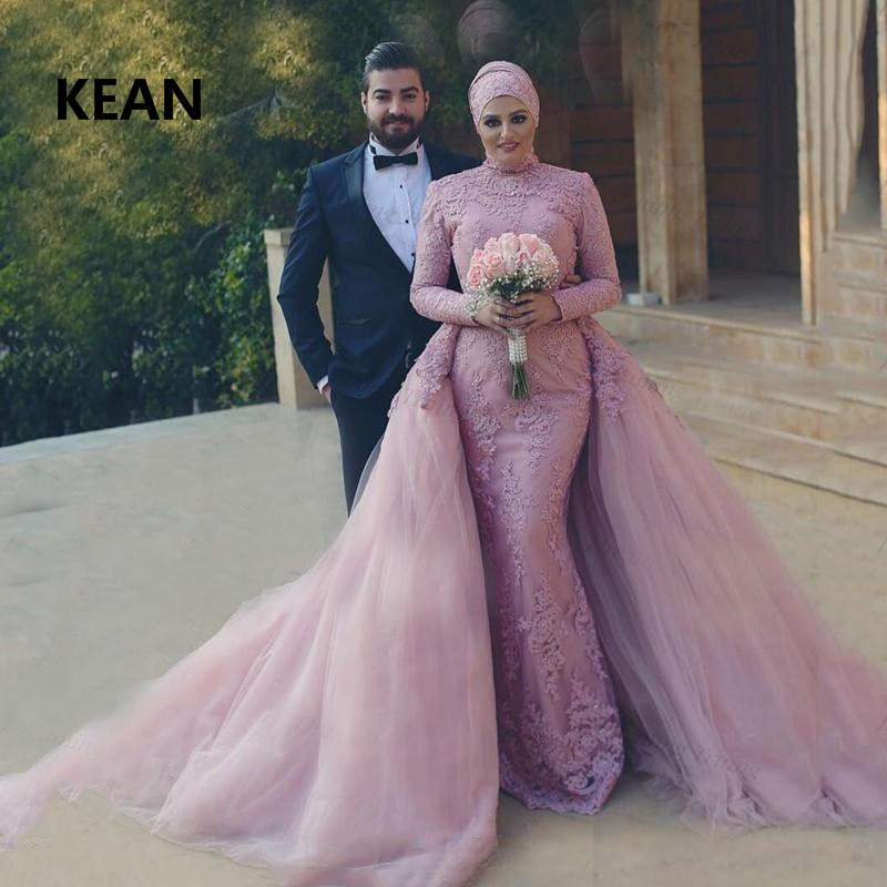Pink Muslim Wedding Dresses Long Sleeves Mermaid Detachable Train Scarf Vestido De Noiva Dubai Arabic Wedding Gown Bride Dress