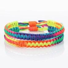 Bracelet en corde tressée multicolore bouddhiste tibétain, nœuds faits à la main, ajustables, porte-bonheur, cadeaux pour femmes et hommes