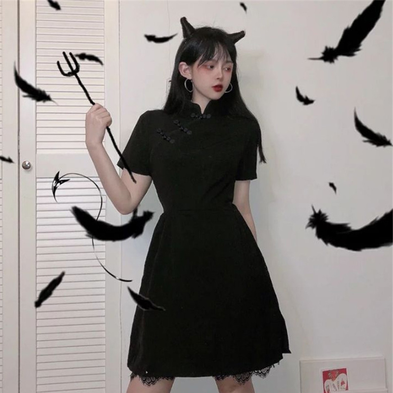 Japanese Harajuku Vintage Gothic Lolita Dresses Black Slim Chinese Style Cheongsam Dress