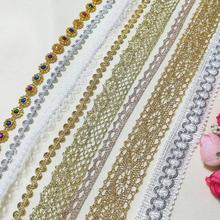 Ribbon Embroidery Lace-Fabric Gold Silver Trim-Collar Wedding-Dress Beaded Cinta 1M KG05