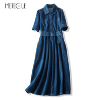 Casual with Lace Up Long Denim Women Dresses Turn down Collar Half Sleeve A Line Woman Dress Spring Autumn 2019