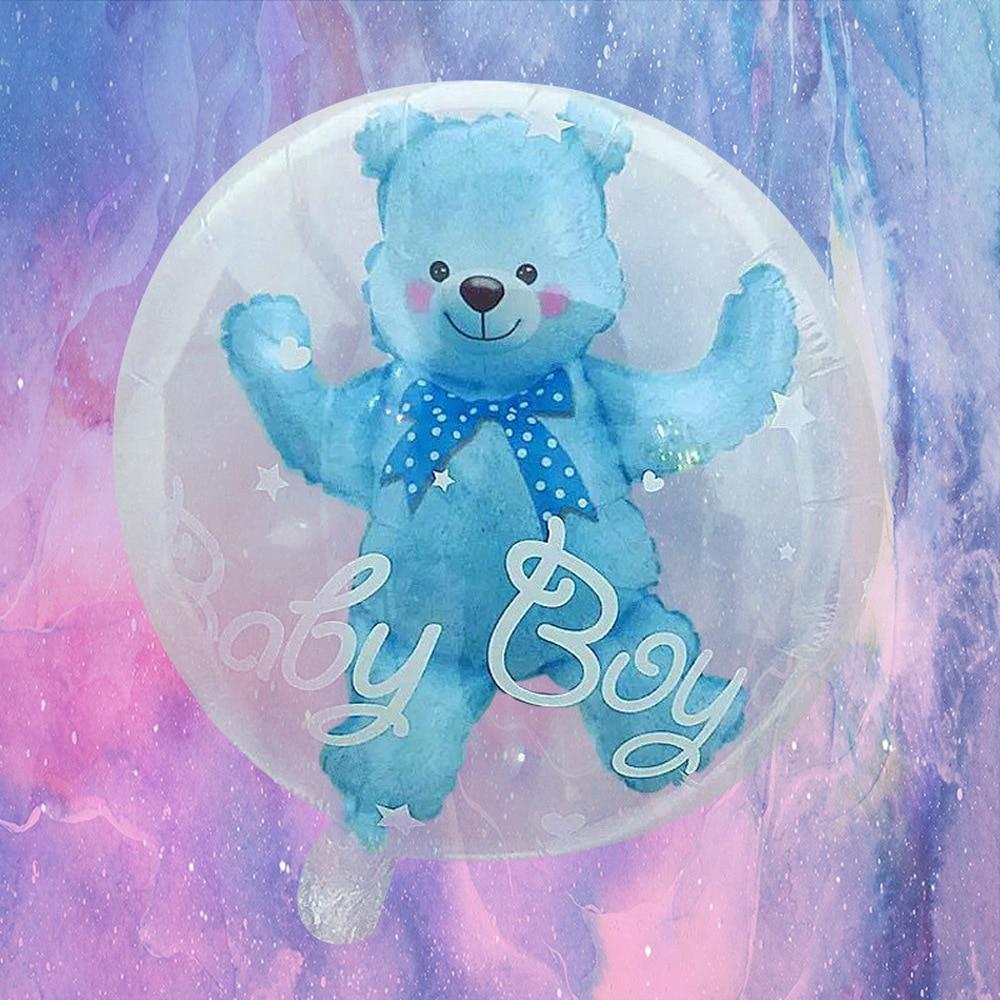 59 * 69cm Large Bubble Bear Aluminum Foil Helium Balloons Toys Boy Girl Wedding Decoration Birthday Baby Shower Theme Party Toys 4