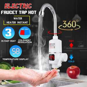 3000W Tankless Instant Electric Hot Water Heater Faucet LED Kitchen Bathroom Heating Tap