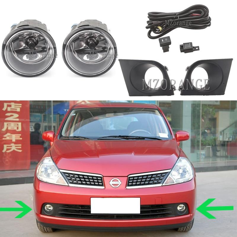 For Nissan Tiida Latio 2005-2008 Fog Lights Headlights Headlight LED Halogen Fog Light With Wiring Grilles Harness Switch Kit