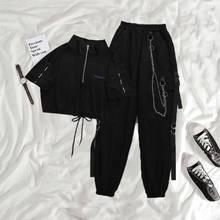 Houzhou gótico mulheres preto carga calças harajuku punk corrente feminino hip hop shopping goth streetwear techwear egirl grunge