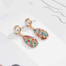 цены 2019 New Earrings Color Full Rhinestone Water Drop Pearl Earrings Earrings Luxury Retro Palace Dangle Earrings
