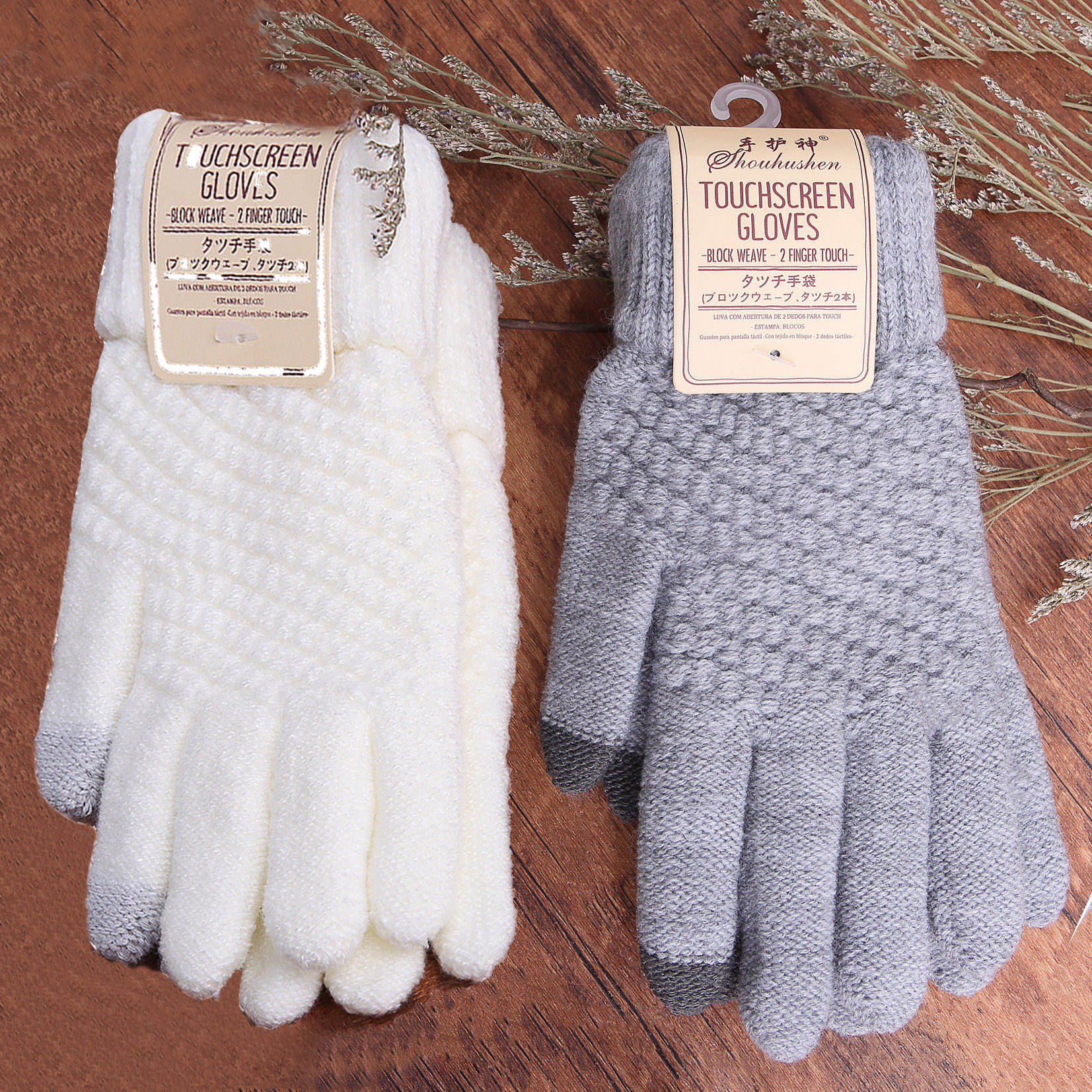 Knitted Gloves Tablet-Pad Mobile-Phone Cashmere Wool Winter Warm Women for Solid-Color