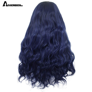 Image 2 - Anogol Dark Rooted Ombre Blue High Temperature Fiber Brazilian Hair Peruca Long Natural Wave Synthetic Lace Front Wig For Women