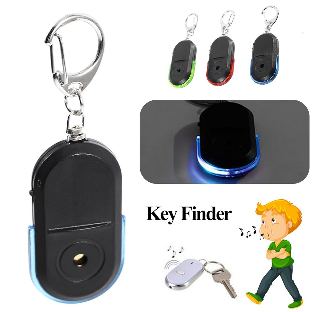 Portable Key Finder Old People Anti-Lost Alarm Key Finder Wireless Useful Whistle Sound LED Light Locator Finder Keychain