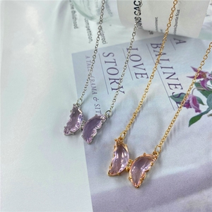 Fashion Ladies Crystal Butterfly Pendant Necklace Zircon Glass Butterfly Purple Pink For Girl Glamour Butterfly Necklace Jewelry