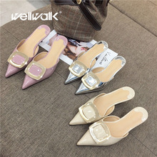 Wellwalk Pointed Toe Mules Women High Slippers Ladies Fashion Slides Small Heel Slippers Women Mules Female Close Toe Sandals 2018 fashion design satin silk women slippers pointed toe kitten heel bowtie buttlerfly knot mules sandals women summer shoes