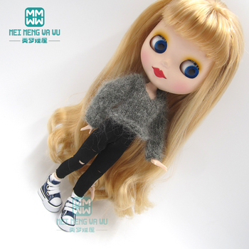 1pcs Blyth Doll Clothes Grey sexy sweater, shredded leggings for Blyth Azone OB23 OB24 doll accessories image