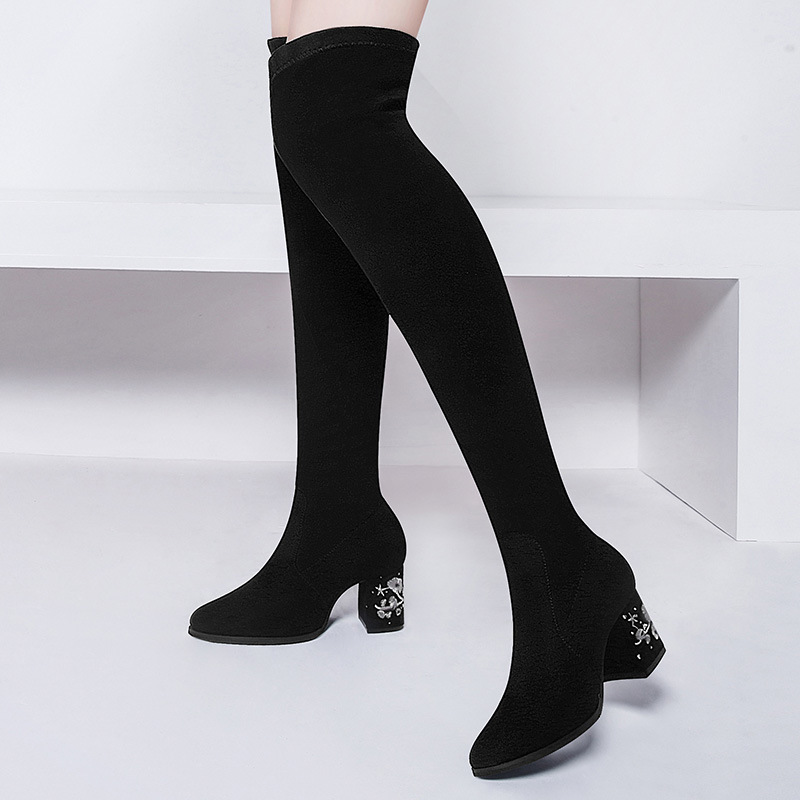Gucci Tianlun 8805 Round-Toe Chunky Heel Boots Sleeve Embroidery Decoration Over-the-Knee Boots Waterproof Platform WOMEN'S Boot