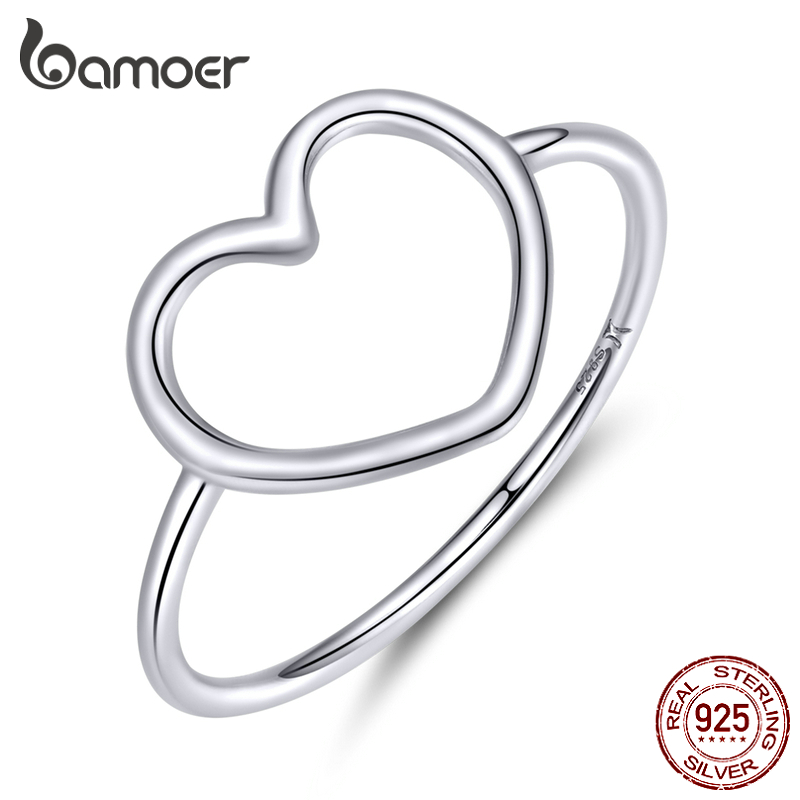 Bamoer Sterling Silver 925 Simple Minimalist Heart Finger Rings For Women Wedding Engagement Statement Jewelry SCR641