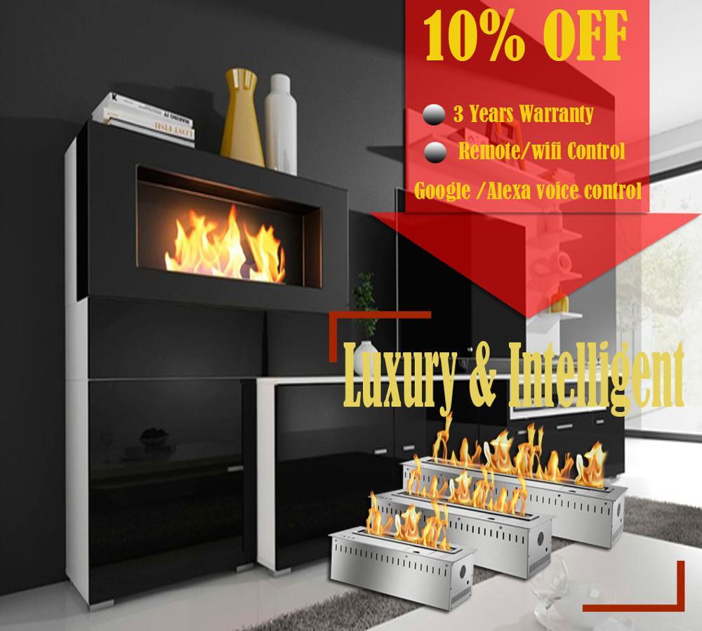 On Sale 48'' Intelligent Bio Ethanol Burners Remote Fireplace Decorative Insert