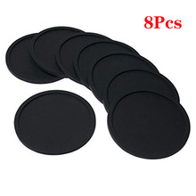Silicone Black Drink Coasters Set of 8 Non-slip Round Soft  Cup Coasters, Perfect for Bar and House, Durable Easy to Clean Black