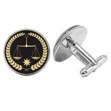 Hot! 2019 Super New Sacred Trial Balance Badge Cufflinks Glass Convex Silver Mens Gift Jewelry