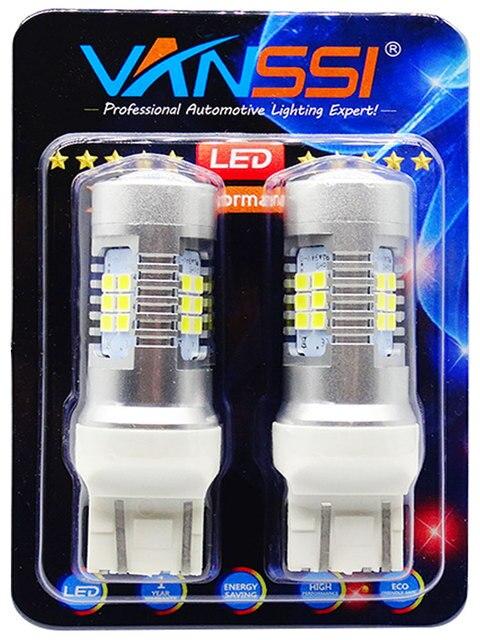 Vanssi T20 7443 7444 W21/5W Led Lampen Voor Lada Vesta Granta Kalina Accessoires Front Dimensie Licht Lamp wit Amber Geel Rood