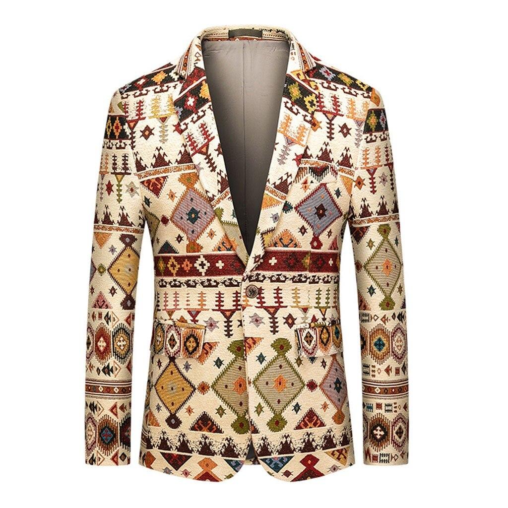 Homme Floral costume manteau veste décontracté Vintage col rabattu manches longues imprimé lin affaires fleur costume blazer extérieur