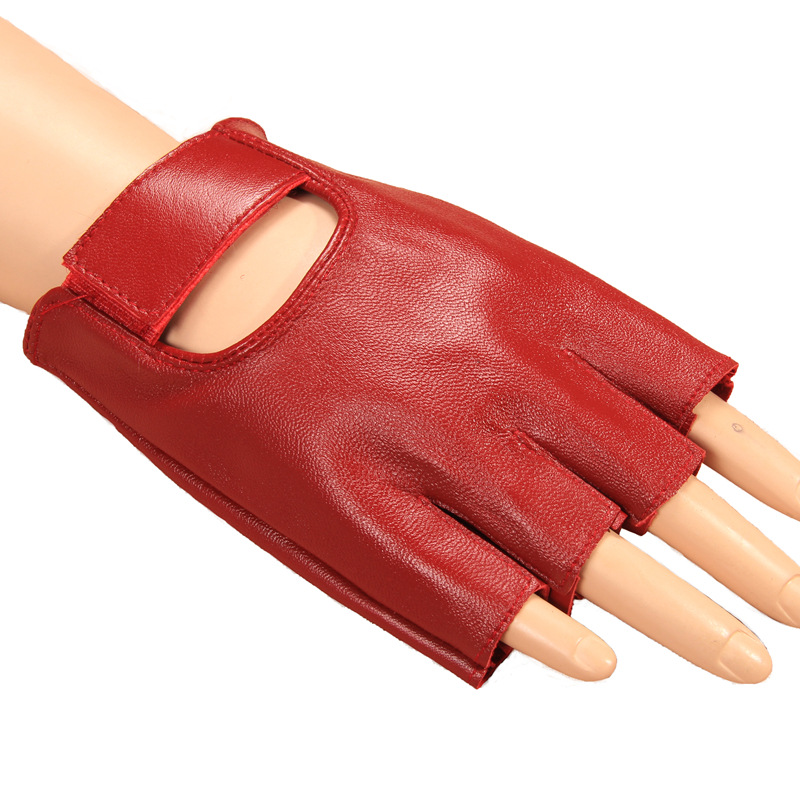 New Fingerless Gloves Women's Half-finger Sheepskin Fashion Hollow Style 100% Lambskin Geniune Leather Red Gloves Full Driving