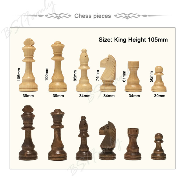 32 ou 34 pièces d'échecs en bois jeu d'échecs roi hauteur 105mm jeu d'échecs de voyage de haute qualité grand échiquier ou planche ou cadeau IA88 2