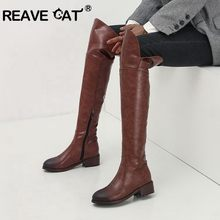 REAVE CAT – bottes au dessus du genou pour femme, chaussures d'hiver à talons carrés bas, longues et minces, noires et brunes, grande taille 44 45 46, 2020