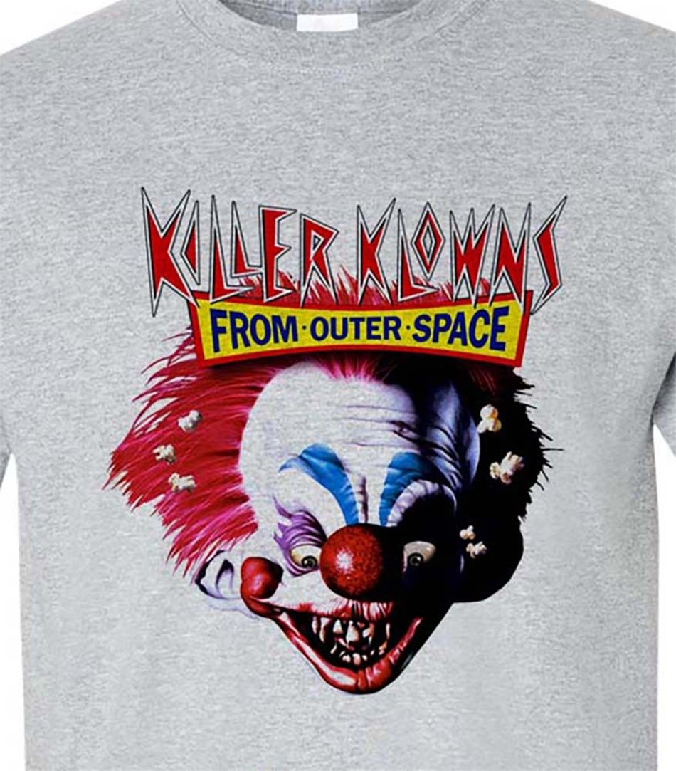 Killer Klowns from Outer Space T-Shirt retro 1980s horror movie 100% cotton Bodybuilding Tops Tee Shirt image