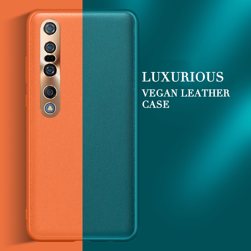 Phone Case For Xiaomi Mi 10 Pro Mi 10 Lite Case Cover Vegan Leather Soft Silicone Frame Hard Cover For Xiaomi Mi 10 Pro 5G Mi10