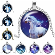 2019 New Hot Creative Cartoon Unicorn Necklace Gift Glass Convex Silver Pendant Horse Fashion Jewelry