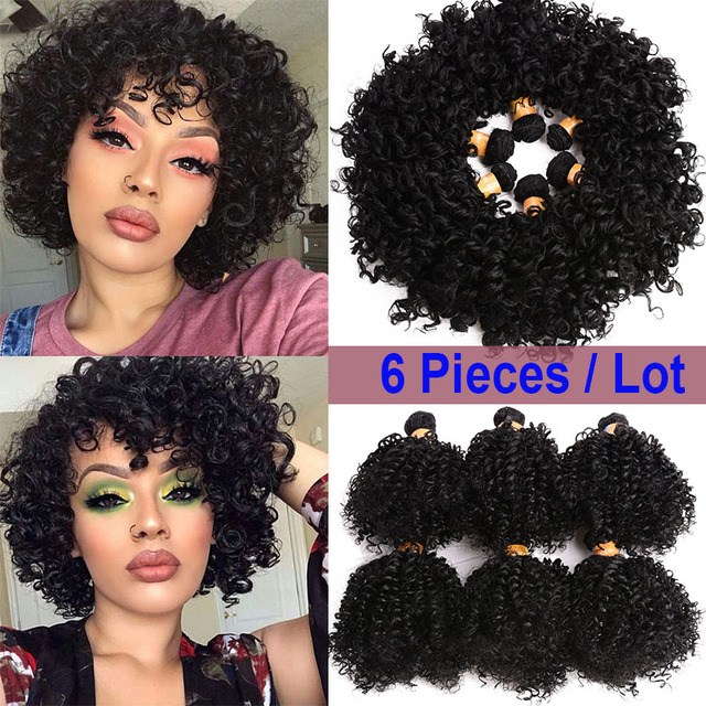 Dream Ices Bouncy Curly Synthetic Weave 6 Pcs/lot Natural Short Hair Welf Bundles Black Hair Weaving 6 Inch