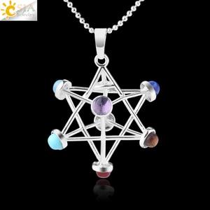 CSJA Merkaba Chakras Pendants Natural Stone Reiki 7 Chakra Necklaces Healing Hollow Star Point Women Men Necklace Pendulo F766(China)