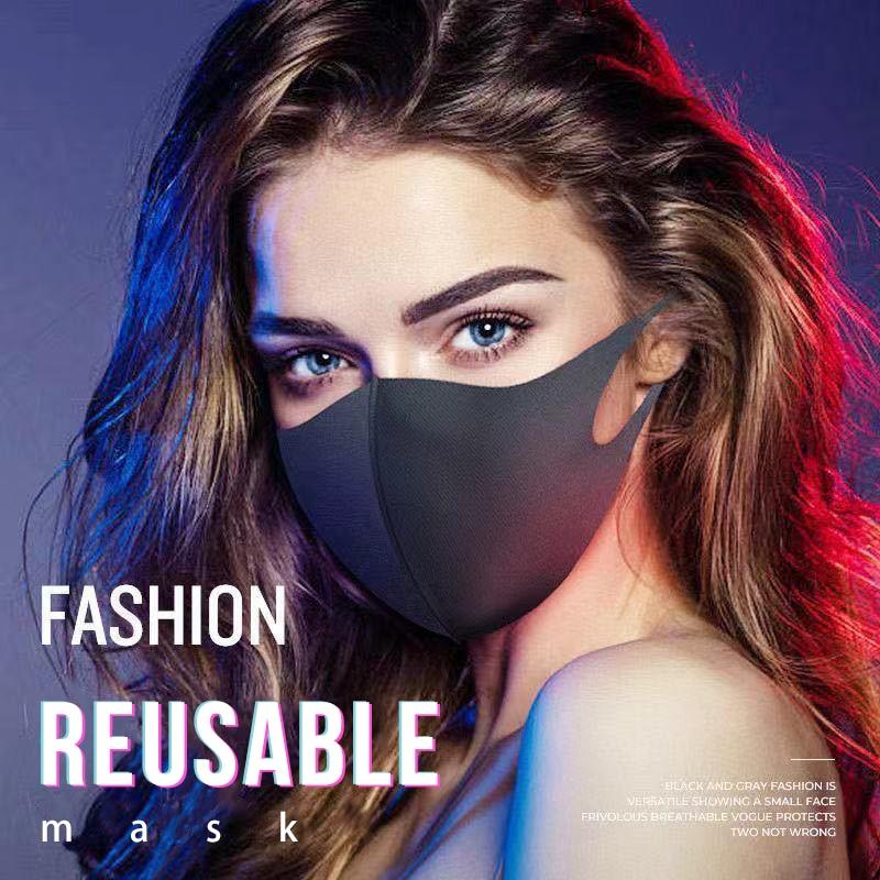 10Pcs Washable Reusable Kpop Face Breathing Mask Anti Dust Polution Environmental Mouth Mask Respirator Fashion Black Mask