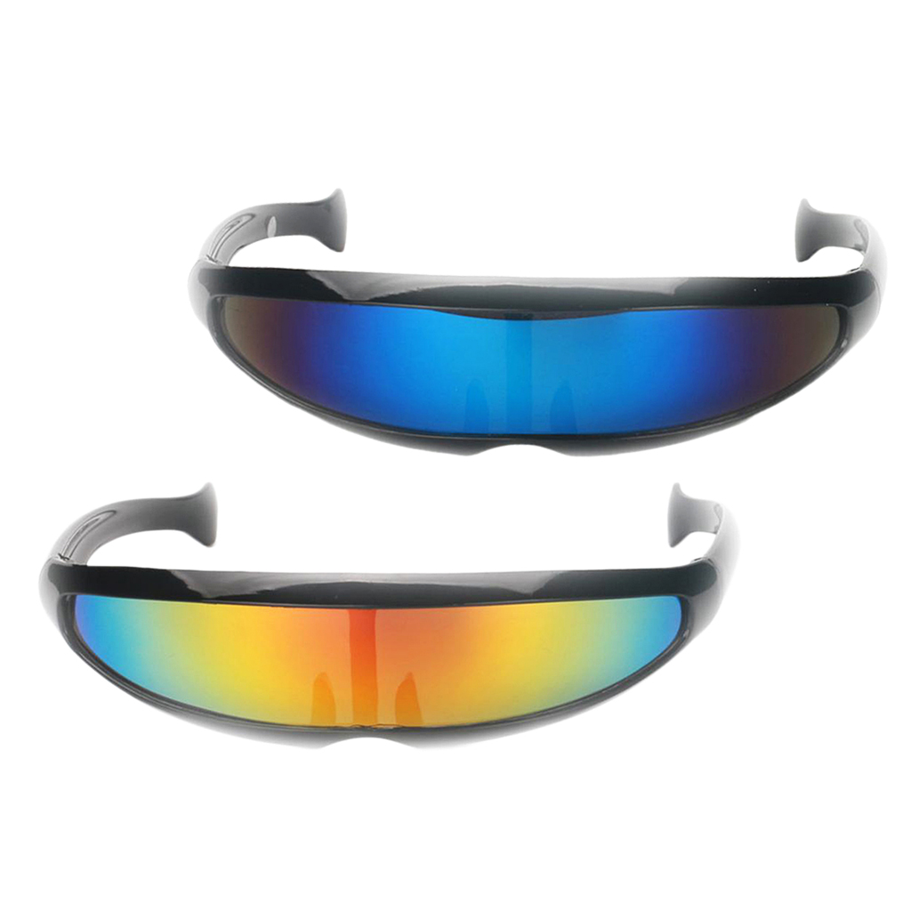 Pack Of 2 Fashion Novelty Vintage Sunglasses Futuristic Cyclops Mirrored Brand Designer Sunglasses Costume Glasses For Adults