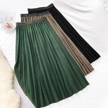 Wasteheart Autumn Winter Black Brown Green Women Skirts Fashion High Waist Pleated Mid-Calf Skirt Clothing Long Knitting