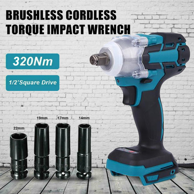 Dreamburgh Electric Wrench Cordless Screwdriver Power Tool Cordless Drill Brushless Impact Driver Wrench for 18V Makita Battery